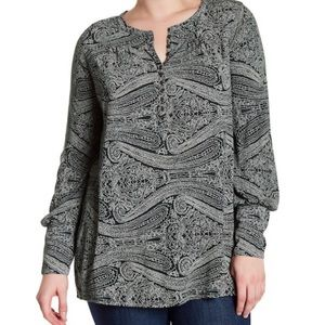 Lucky Brand patterned long sleeve top shirt 7053